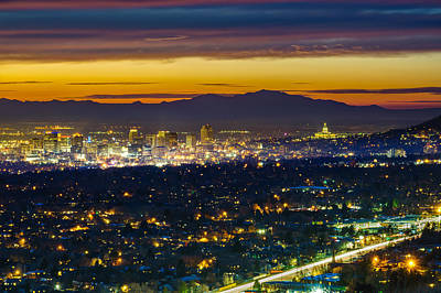 Salt Lake City At Dusk Print by James Udall