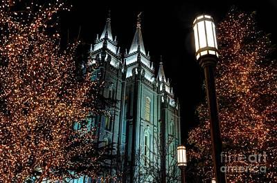 Salt Lake City Mormon Temple Christmas Lights Print by Gary Whitton
