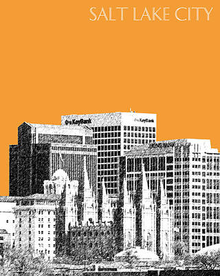 Pen Digital Art - Salt Lake City Skyline - Orange by DB Artist