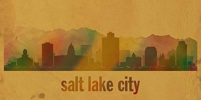 Salt Lake City Utah City Skyline Watercolor On Parchment Print by Design Turnpike