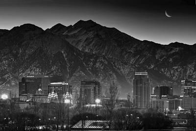 Snowy Night Photograph - Salt Lake City Utah Skyline by Utah Images