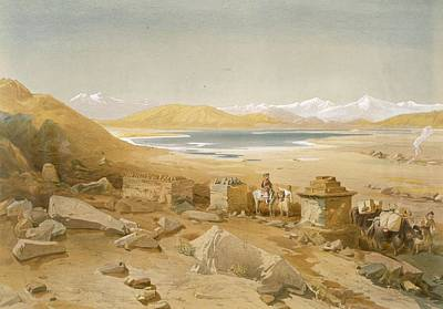 Wilderness Drawing - Salt Lake - Thibet, From India Ancient by William 'Crimea' Simpson