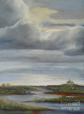 Tidal Basin Painting - Salt Marsh Storm II by Sally Simon