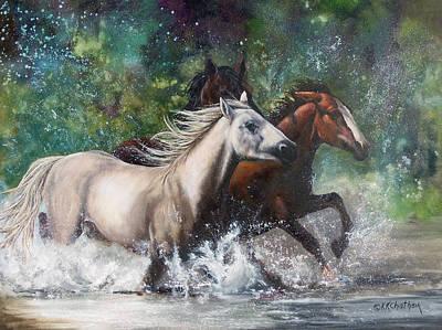 Chatham Painting - Salt River Horseplay by Karen Kennedy Chatham