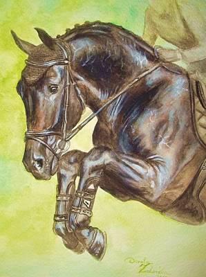 Cavalli Painting - Saltado- Jumping Black Horse by Dorota Zdunska