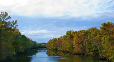 Saluda River In The Fall Print by Steven Richardson