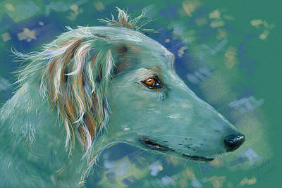 Animals Digital Art - Saluki Dog Painting by Michelle Wrighton