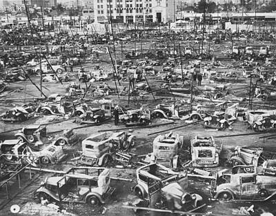 Salvage Photograph - Salvage Yard Row In La by Underwood Archives