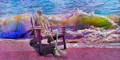 Human Skeleton Digital Art - A-loon On The Beach  by Betsy Knapp