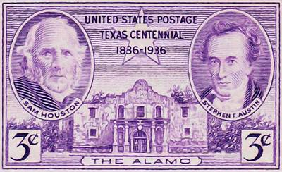 Sam Houston Painting - Sam Houston And Stephen Austin And The Alamo For It Centennial by Lanjee Chee