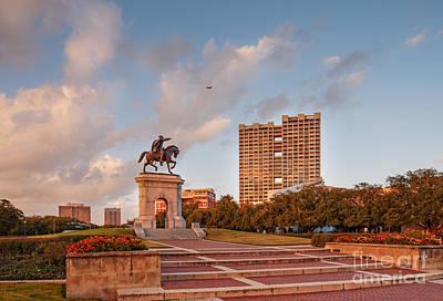 Metro Art Photograph - Sam Houston Statue Bathed In Golden Hour Light - Hermann Park - Houston Texas by Silvio Ligutti