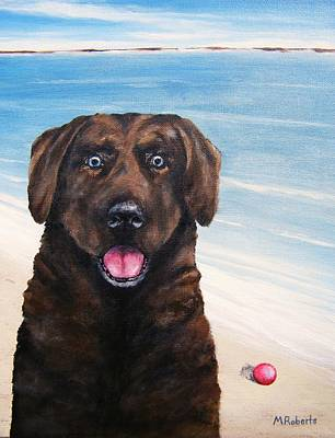 Chocolate Lab Puppy Painting - Sam by Mark Alan Roberts