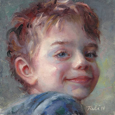Sammy In Blue - Portrait Of A Boy Original by Talya Johnson