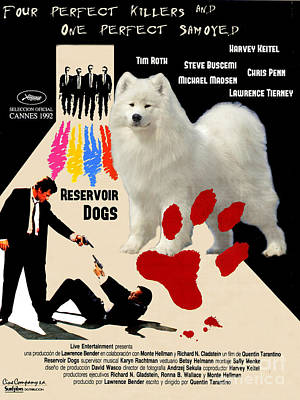 Samoyed Art Canvas Print - Reservoir Dogs Movie Poster Print by Sandra Sij