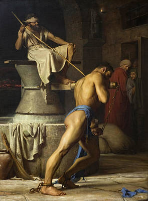 Carl Bloch Painting - Samson And The Philistines by Carl Bloch