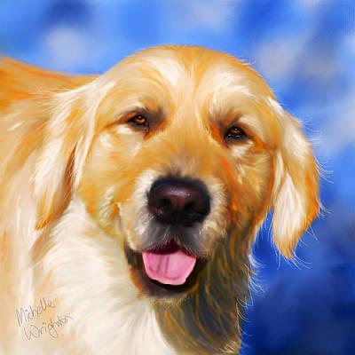 Pet Portraits Digital Art - Happy Golden Retriever Painting by Michelle Wrighton