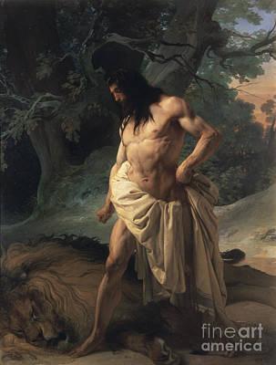 Hayez Painting - Samson Slays The Lion by Francesco Hayez