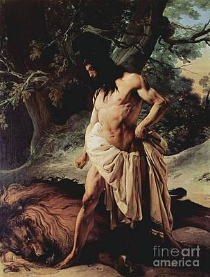 Hayez Painting - Samson Slays The Lion by Pg Reproductions