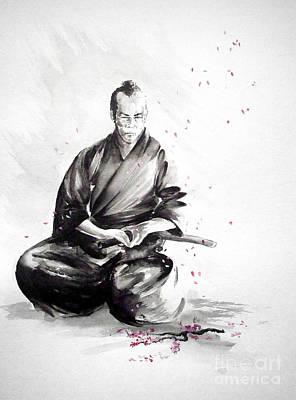 Japanese Cherry Blossoms Painting - Samurai Warrior Japanese Martial Arts. Bushido. by Mariusz Szmerdt