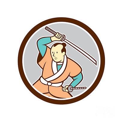 Samurai Warrior Katana Sword Circle Cartoon Print by Aloysius Patrimonio