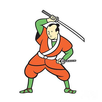 Samurai Warrior Wielding Katana Sword Cartoon Print by Aloysius Patrimonio