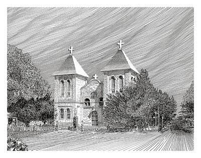Mesilla Drawing - San Albino Catholic Church by Jack Pumphrey