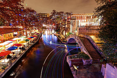 San Antonio Riverwalk And Christmas Lights - San Antonio Texas Print by Silvio Ligutti