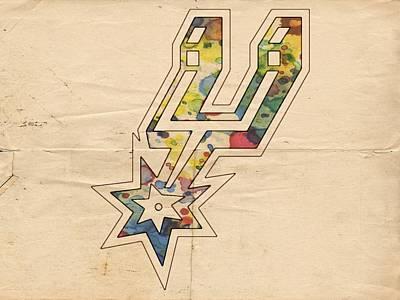 Basketball Painting - San Antonio Spurs Logo Art by Florian Rodarte