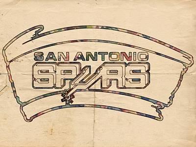 San Antonio Spurs Logo Vintage Print by Florian Rodarte
