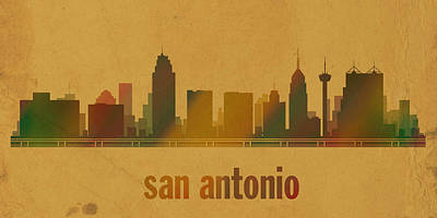 San Antonio Texas City Skyline Watercolor On Parchment Print by Design Turnpike