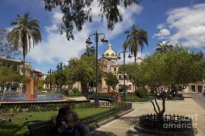 Colonial Man Photograph - San Blas Park  Cuenca Ecuador by Al Bourassa