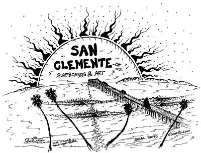 Drawing - San Clemente Pier  by Paul Carter