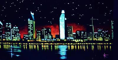 Sunsert Painting - San Diego By Black Light by Thomas Kolendra
