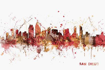 San Diego California Skyline Print by Michael Tompsett