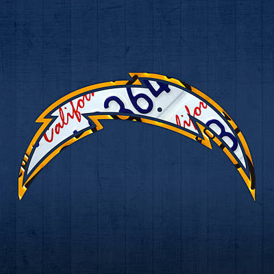 San Diego Chargers Football Team Retro Logo California License Plate Art Print by Design Turnpike