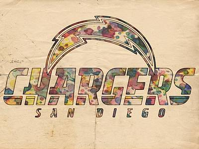 Football Painting - San Diego Chargers Poster Vintage by Florian Rodarte