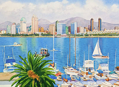 Skyline Painting - San Diego Fantasy by Mary Helmreich