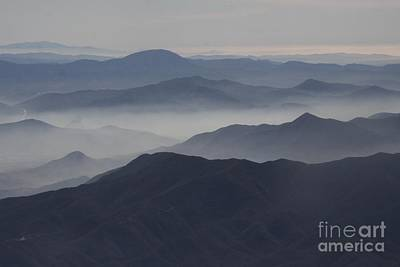San Diego Hills In Fog And Haze Print by Darleen Stry