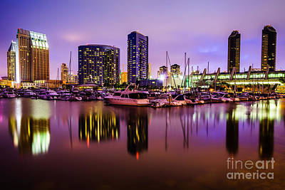 Marina Park Photograph - San Diego Marina At Night With Luxury Yachts by Paul Velgos