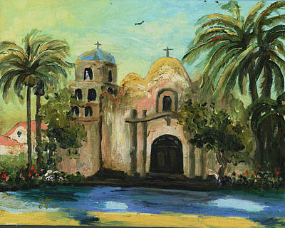 United States Mission Church Painting - San Diego Mission Church by Cecilia Brendel