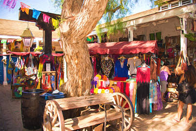 Wine Cart Photograph - San Diego Old Town Market by JG Thompson