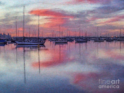 San Diego - Sailboats At Sunrise Print by Lianne Schneider