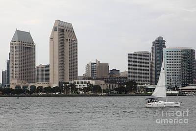 San Diego California Baseball Stadiums Photograph - San Diego Skyline 5d24333 by Wingsdomain Art and Photography