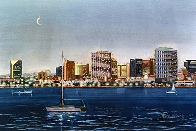Moon Painting - San Diego Skyline At Dusk by Mary Helmreich