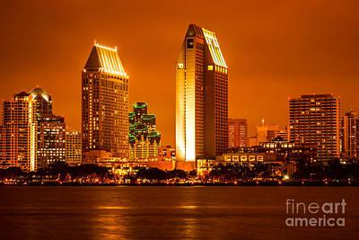 San Diego Skyline At Night Along San Diego Bay Print by Paul Velgos