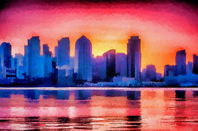 Horizontal Mixed Media - San Diego Skyline Colorful Urban Art by Priya Ghose