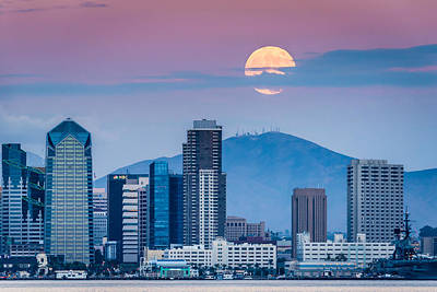 San Diego Super Moonrise - San Diego Skyline Photograph Print by Duane Miller