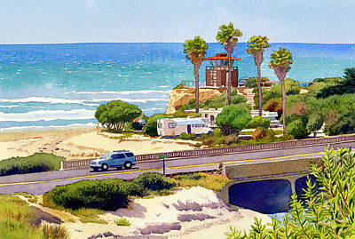 Camp Painting - San Elijo Campground Cardiff by Mary Helmreich