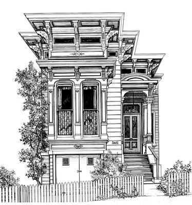 Architecture Drawing - San Fracisco Victorian2 by Mary Palmer