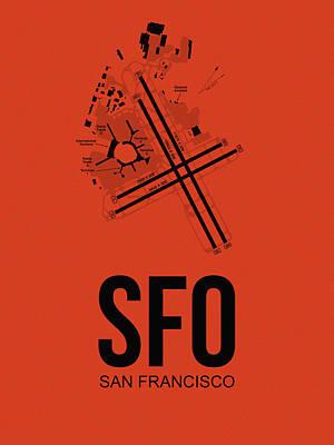 San Francisco Digital Art - San Francisco Airport Poster 2 by Naxart Studio